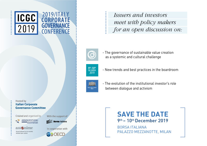 ITALY CORPORATE GOVERNANCE CONFERENCE 2019 – 9th & 10th December